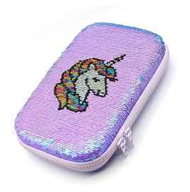Unicorn Hard Top Sequence Cosmetic and Stationery Pouch Free Unicorn Pen and Eraser-PURPLE