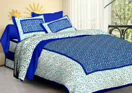 JAIPURI PRINT QUEEN SIZE 90X100 INCHES BEDSHEET SKYBLUE BORDER