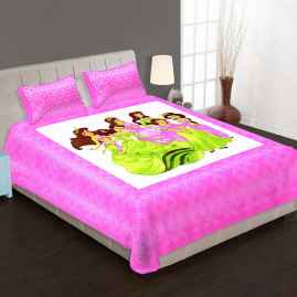 JAIPURI PRINT QUEEN SIZE 90X100 INCHES BEDSHEET PINK BORDER WITH FAIRY PRINT