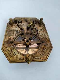 Brass Vintage Pendulum Sundial Compass with leather case