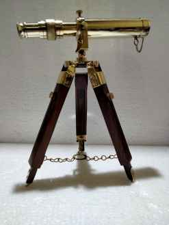 Brass Antique Replica Telescope with Wooden Stand