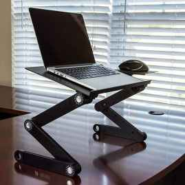 Multi Functional Portable Aluminum Laptop Table with Zig Zag Legs