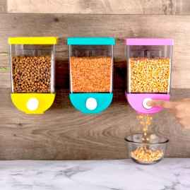 1 Pc Self Adhesive Wall Mounted Cornflakes/Cereal Storage Box/Tank - 1100 ml (assorted color)