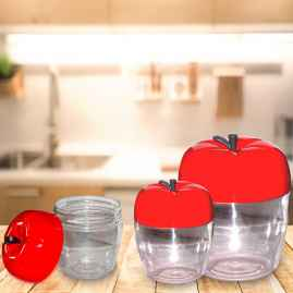 Apple Shape Plastic Container 3-Pcs Set