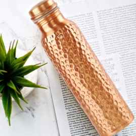1 Ltr High Quality Hammered Copper Water Bottle