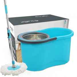 Heavy Duty Microfiber Spin Mop with Plastic Bucket without wheels (Multicolour)