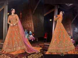 LATEST DESIGNER WOMEN LEHENGAS FOR BRIDE ORANGE COLOUR