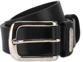 Men Casual Black Genuine Leather Belt