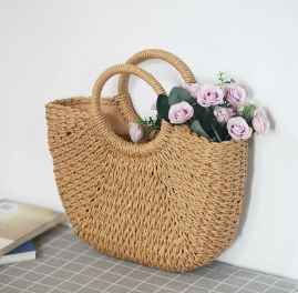 NATURAL STRAW HANDMADE LADIES HANDBAGS ORGANIC WITH BEAUTIFUL FLOLK
