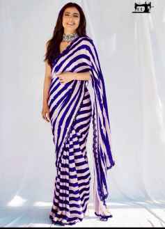 STYLISH DIVA WOMEN SAREE GO FANCY IN THIS BLUE AND WHITE COMBINATION