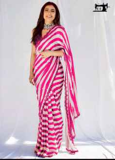 STYLISH DIVA WOMEN SAREE GO FANCY IN THIS PINK AND WHITE COMBINATION