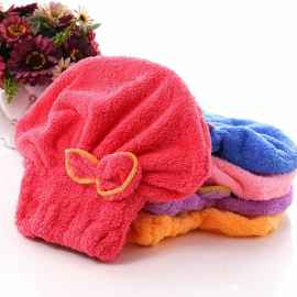 Microfiber fabric bow Hair Towel (Random Color)