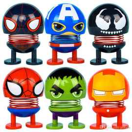 6 Pcs Superhero Car Decor, kids toys spring doll (Random Design)