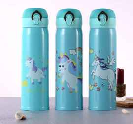 600ml Unicorn Stainless Steel Insulated Vacuum thermos- green