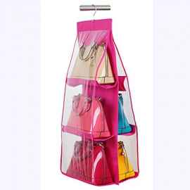 6 Pocket Foldable Hanging Organiser Heavy Quality (Pink and Blue)