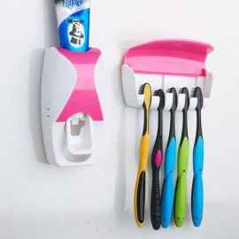 Toothpaste Dispenser Squeezer with Detachable 5 Hole Toothbrush Holder