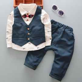 3 PCS SET PARTY WEAR SUPER COOL STUFF BLUE