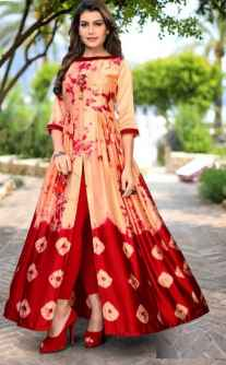 3DR WOMEN PARTYWEAR GOWN RED AND BEIGE