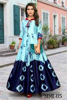 3DR WOMEN PARTYWEAR GOWN SKYBLUE