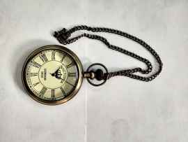 Antique Brass Pocket Watch with Chain