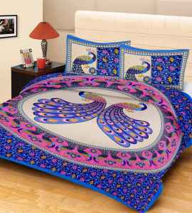 JAIPURI PRINT QUEEN SIZE 90X100 INCHES BEDSHEET PURPLE PEACOCK PRINT