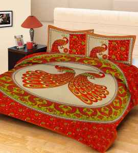 JAIPURI PRINT QUEEN SIZE 90X100 INCHES BEDSHEET ORANGE PEACOCK PRINT