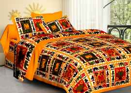 JAIPURI PRINT QUEEN SIZE 90X100 INCHES BEDSHEET MUSTURD PRINT