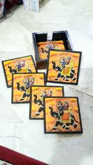 Hand Painted Indian art wooden Coasters set of 6
