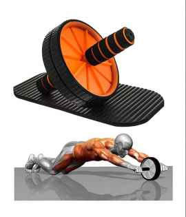 Ab Wheel Roller Core Abdominal Workout with Knee Mat for Men and Women (random colour)