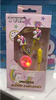 Unicorn Earphone with Gleamy Light in The Centre( Random Colour)