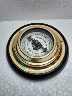 Antique Replica 5 Inches Sailor's Brass Desk Compass with Wooden Base