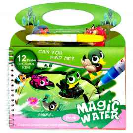 Kids Magic Water Reusable Drawing Pad Doodle Book with Pen - ANIMAL