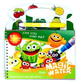 Kids Magic Water Reusable Drawing Pad Doodle Book with Pen - FRUITS