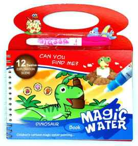 Kids Magic Water Reusable Drawing Pad Doodle Book with Pen - DINOSAUR