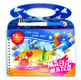 Kids Magic Water Reusable Drawing Pad Doodle Book with Pen - OCEAN