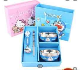 Stainless Steel Bowl Set with Spoon and Chopsticks For Kids - DOREMON