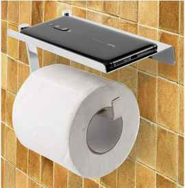 Stainless Steel 304 Grade Toilet Paper Tissue roll Holder with Mobile Phone Stand
