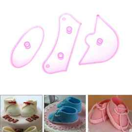 3 Pcs Shoe Shape Design Sugarcraft Cake Decorating Mould