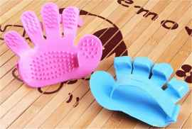 1 Pair Rubber Pet Cleaning Massaging Grooming Glove Brush