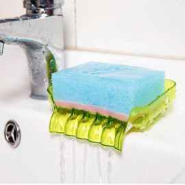 2 Pcs Waterfall Suction Type Plastic Soap Tray (Random Color)