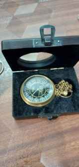 Brass Antique Look Pocket Watch With box