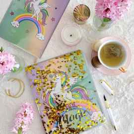 Unicorn Water Diary with 1 Unicorn Furr 6 in 1 Pen