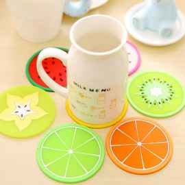 Silicone Coaster Fruit Design 5 Pc Set - (RANDOM)