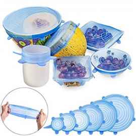 6 Pcs Set Silicone Lids - ( RANDOM COLOR )