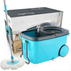 Heavy Duty Microfiber Spin Mop with Plastic Bucket (Multicolour)