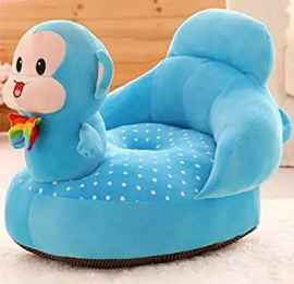 BABY SOFA SEAT CARTOON MONKET DESIGN SKY BLUE