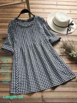 COTTON FLEX BLACK AND WHITE WESTERN DRESS FOR WOMEN