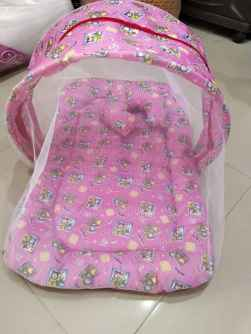 COTTON PRINTED BABY NET BEDDING PINK