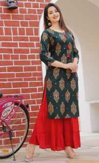 FOIL MIRROR EMBROIDERY WORK PRINTED KURTI WITH SHARARA