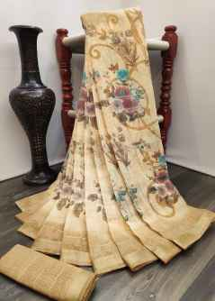 GARDEN RANI FLOWERS SOFT LINEN SAREE WITH PANTHER BORDER BEIGE